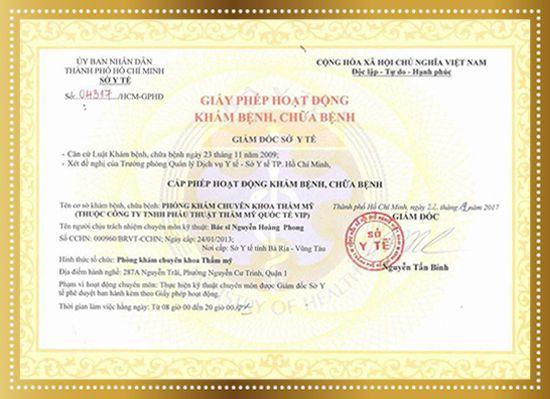 giấy phép y tế thẩm mỹ VIP